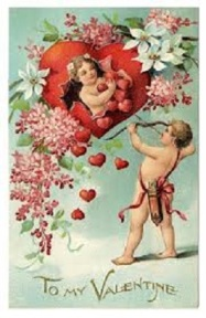 Cherub Vintage Postcard Valentine large